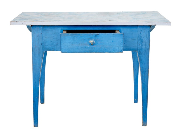 19th Century Traditional Rustic Painted Swedish Side Table 3