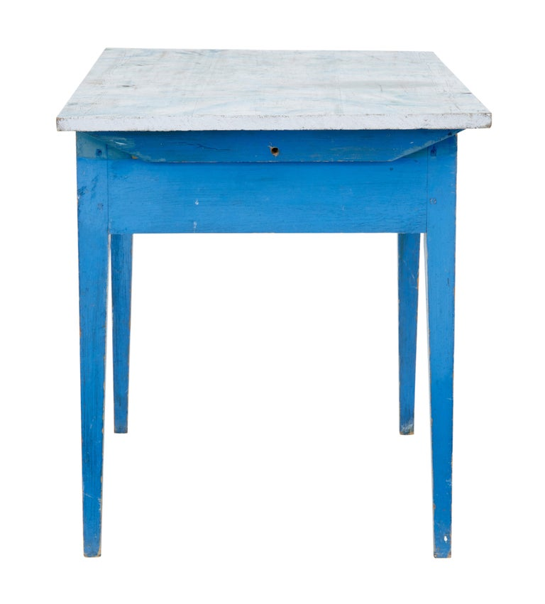 19th Century Traditional Rustic Painted Swedish Side Table 4