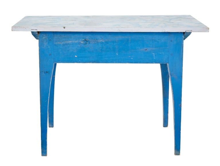 19th Century Traditional Rustic Painted Swedish Side Table 5