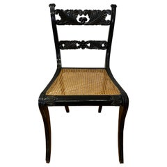 19th Century Trafalgar Upright Chair with Cane Seat & Floral Motif c.1830