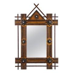 19th Century Tramp Art Rustic Wall Mirror, Austria, circa 1880