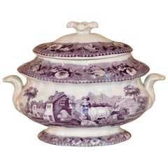 19th Century Transferware Sugar Bowl