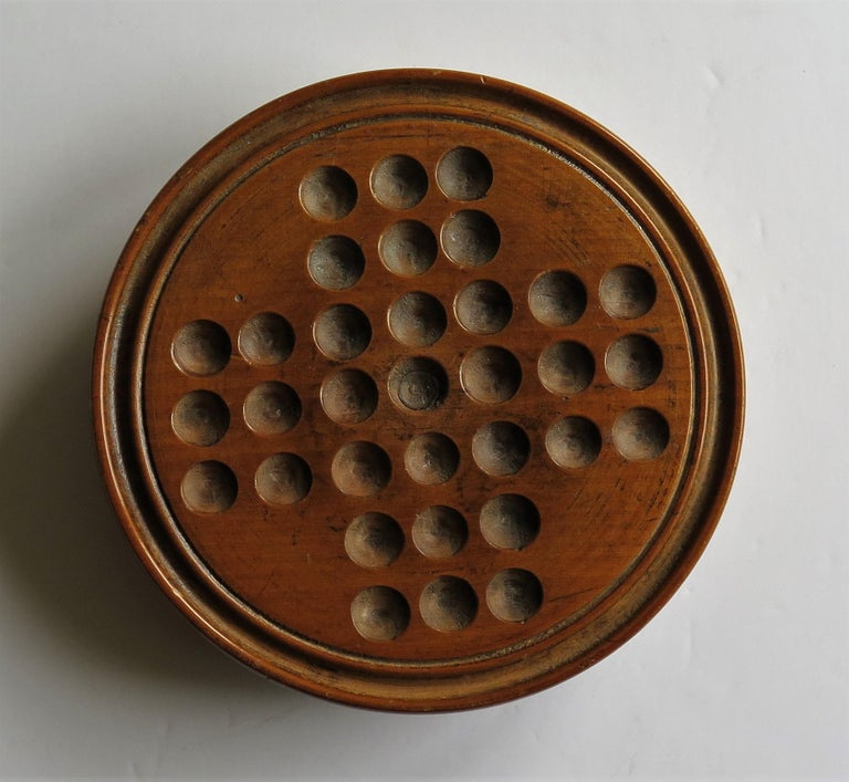 19th Century Travelling Marble Solitaire Game with 33 Handmade Clay Marbles 3