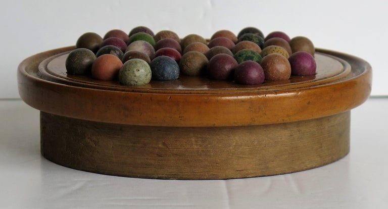19th Century Travelling Marble Solitaire Game with 33 Handmade Clay Marbles 4