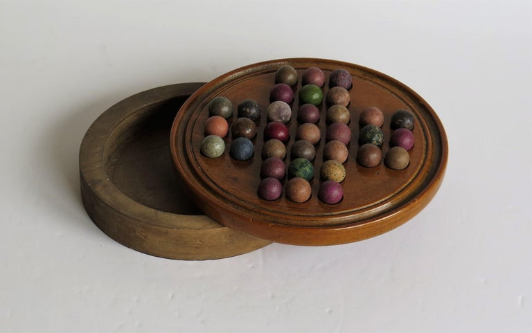 19th Century Travelling Marble Solitaire Game with 33 Handmade Clay Marbles 6