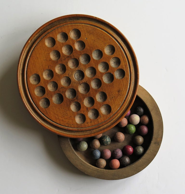 19th Century Travelling Marble Solitaire Game with 33 Handmade Clay Marbles 7