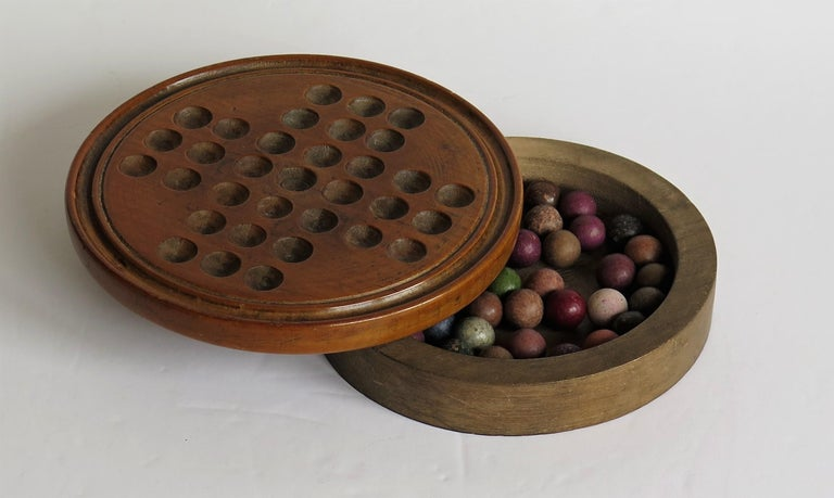 19th Century Travelling Marble Solitaire Game with 33 Handmade Clay Marbles 8