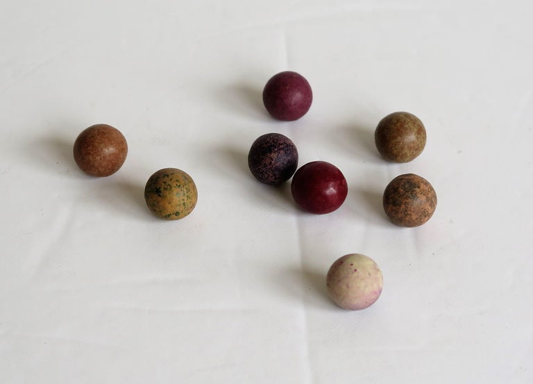19th Century Travelling Marble Solitaire Game with 33 Handmade Clay Marbles 11