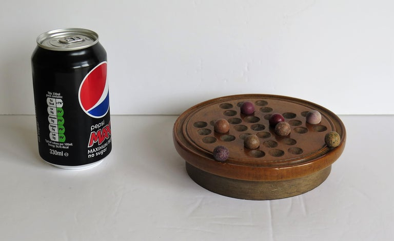 19th Century Travelling Marble Solitaire Game with 33 Handmade Clay Marbles 13