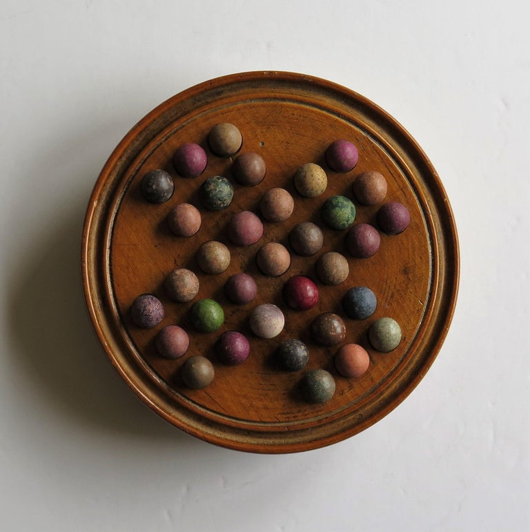 Victorian 19th Century Travelling Marble Solitaire Game with 33 Handmade Clay Marbles