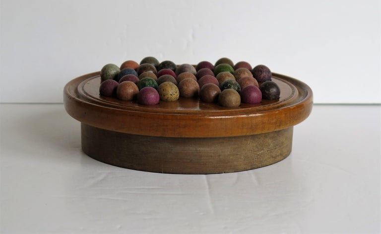 English 19th Century Travelling Marble Solitaire Game with 33 Handmade Clay Marbles