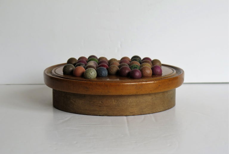 Hand-Crafted 19th Century Travelling Marble Solitaire Game with 33 Handmade Clay Marbles
