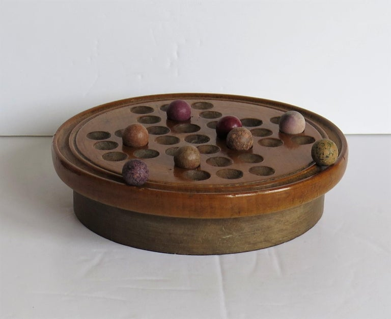 19th Century Travelling Marble Solitaire Game with 33 Handmade Clay Marbles 1