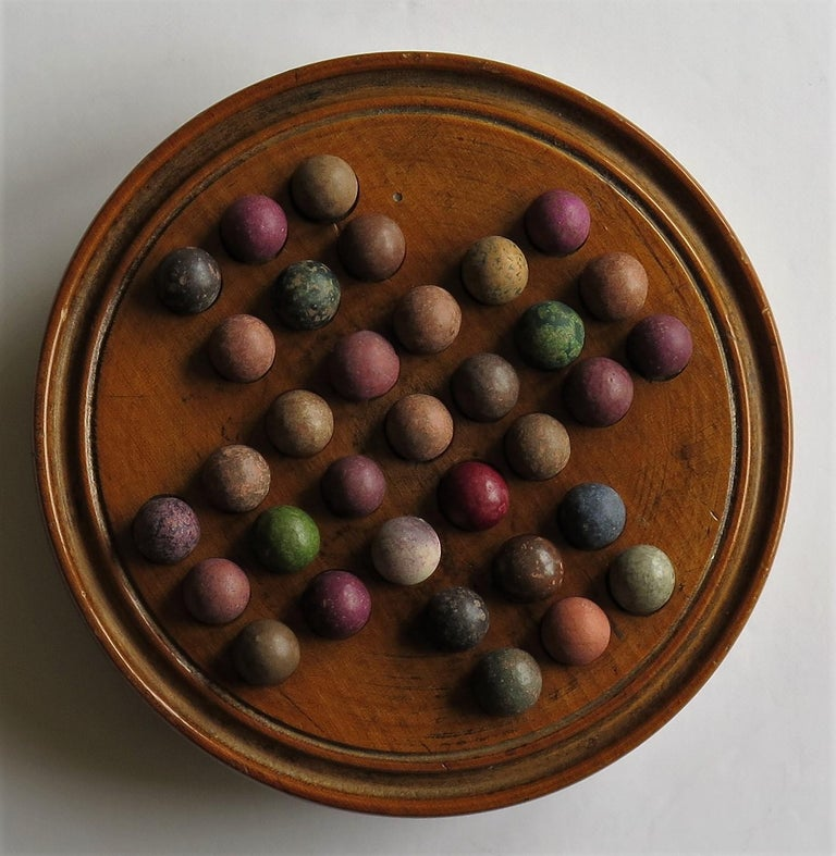 19th Century Travelling Marble Solitaire Game with 33 Handmade Clay Marbles 2
