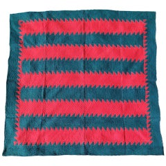 19th Century Tree Everlasting Splint Bars Red and Green Quilt