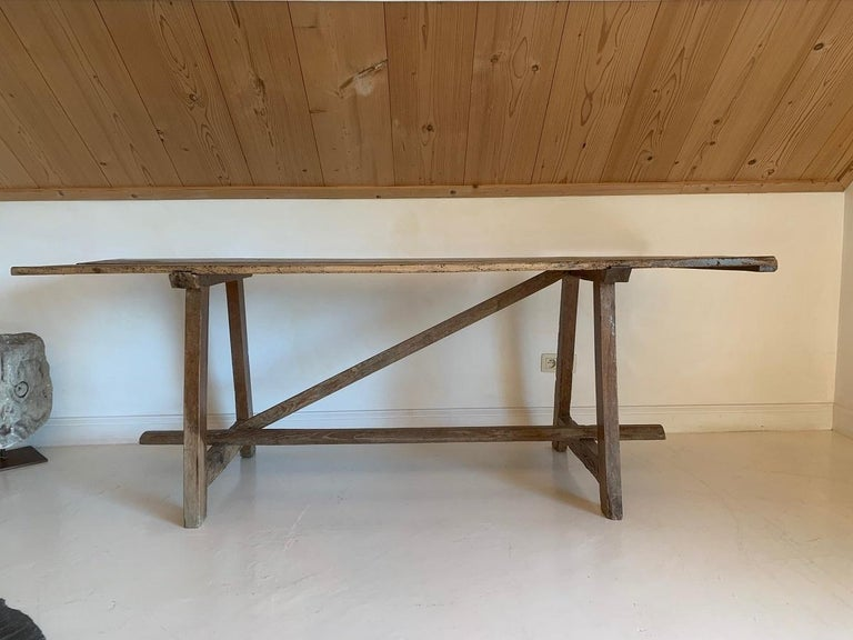 19th Century Trestle Console Table In Fair Condition In Vosselaar, BE