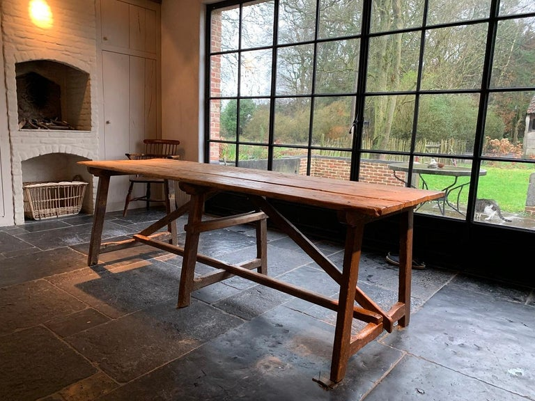 19th Century Trestle Refectory Table For Sale 9