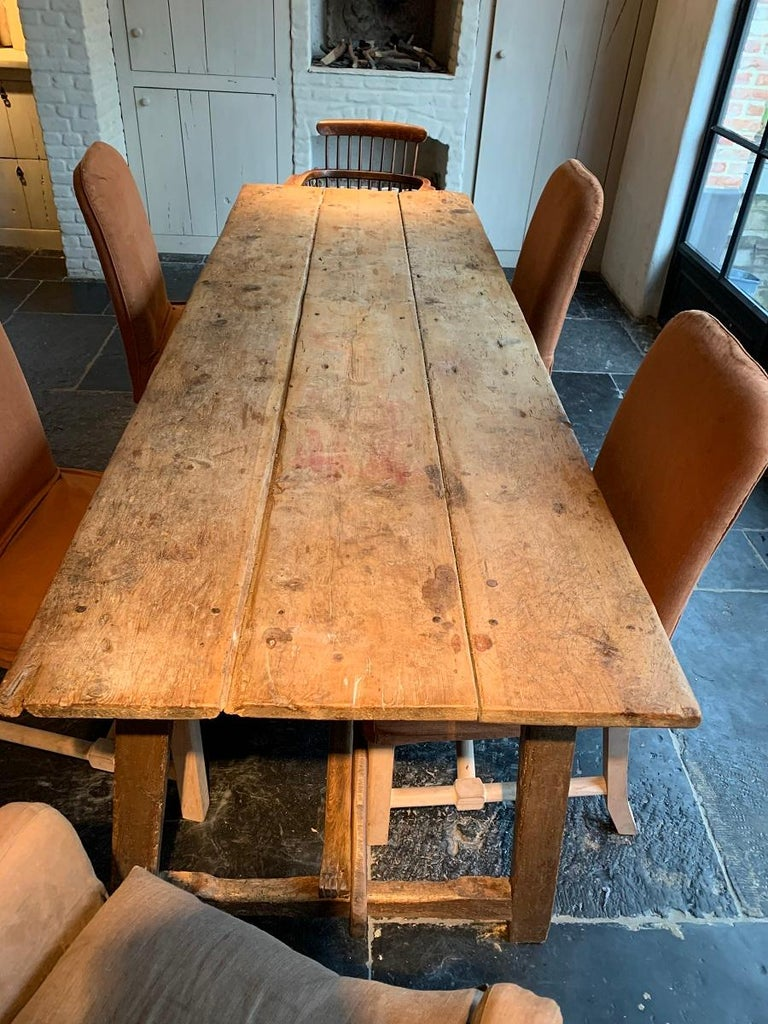 Hand-Crafted 19th Century Trestle Refectory Table For Sale