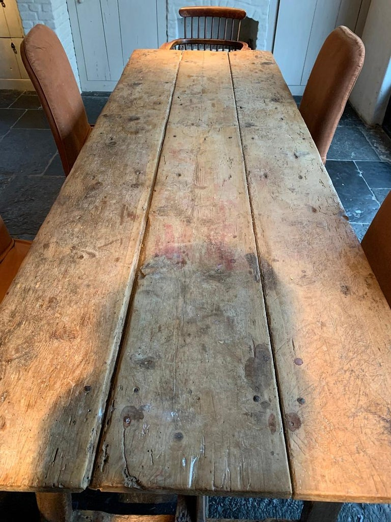 19th Century Trestle Refectory Table In Fair Condition For Sale In Vosselaar, BE