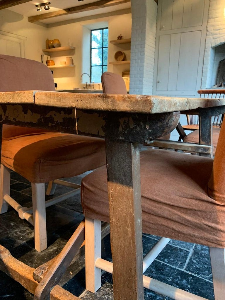 Softwood 19th Century Trestle Refectory Table For Sale