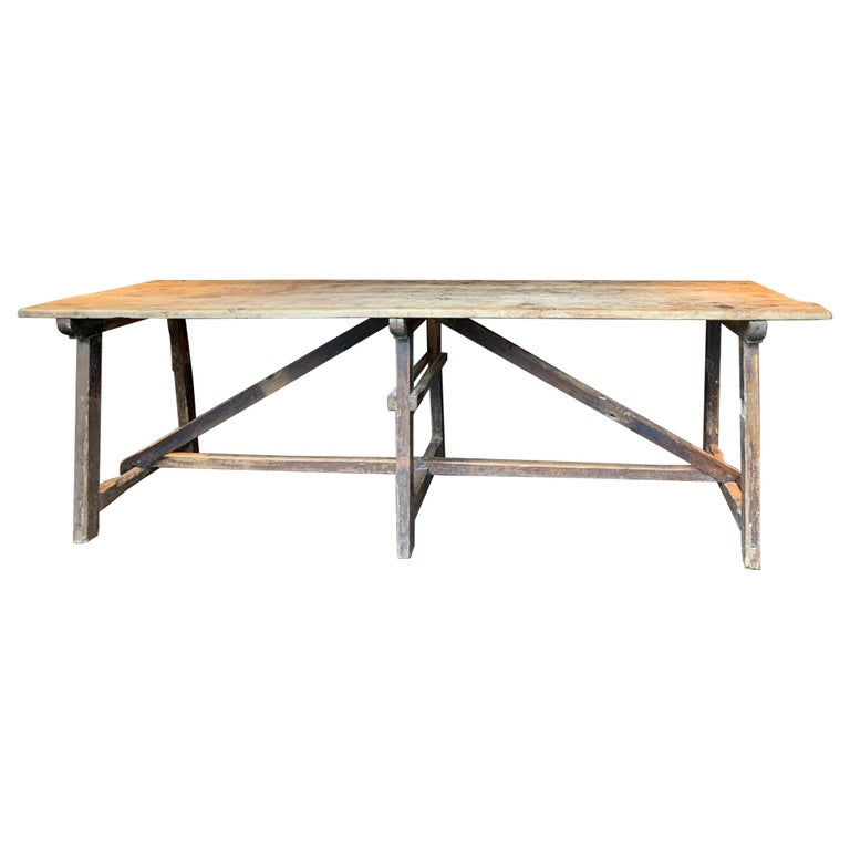 19th Century Trestle Refectory Table For Sale