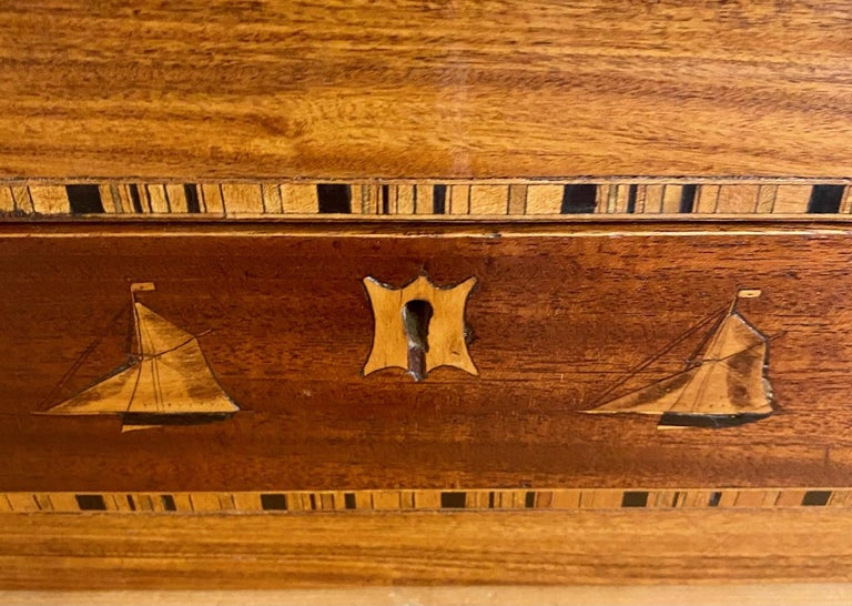 British 19th Century Trinity House Inlaid Rosewood Sewing Box, circa 1870 For Sale