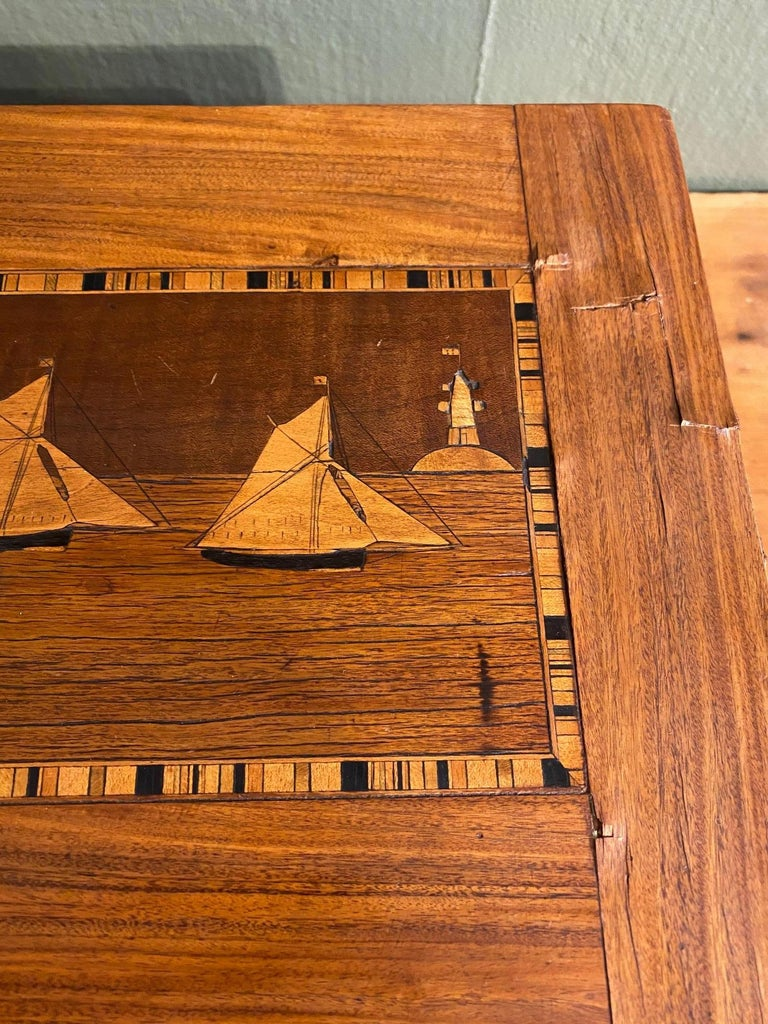 Hand-Crafted 19th Century Trinity House Inlaid Rosewood Sewing Box, circa 1870 For Sale