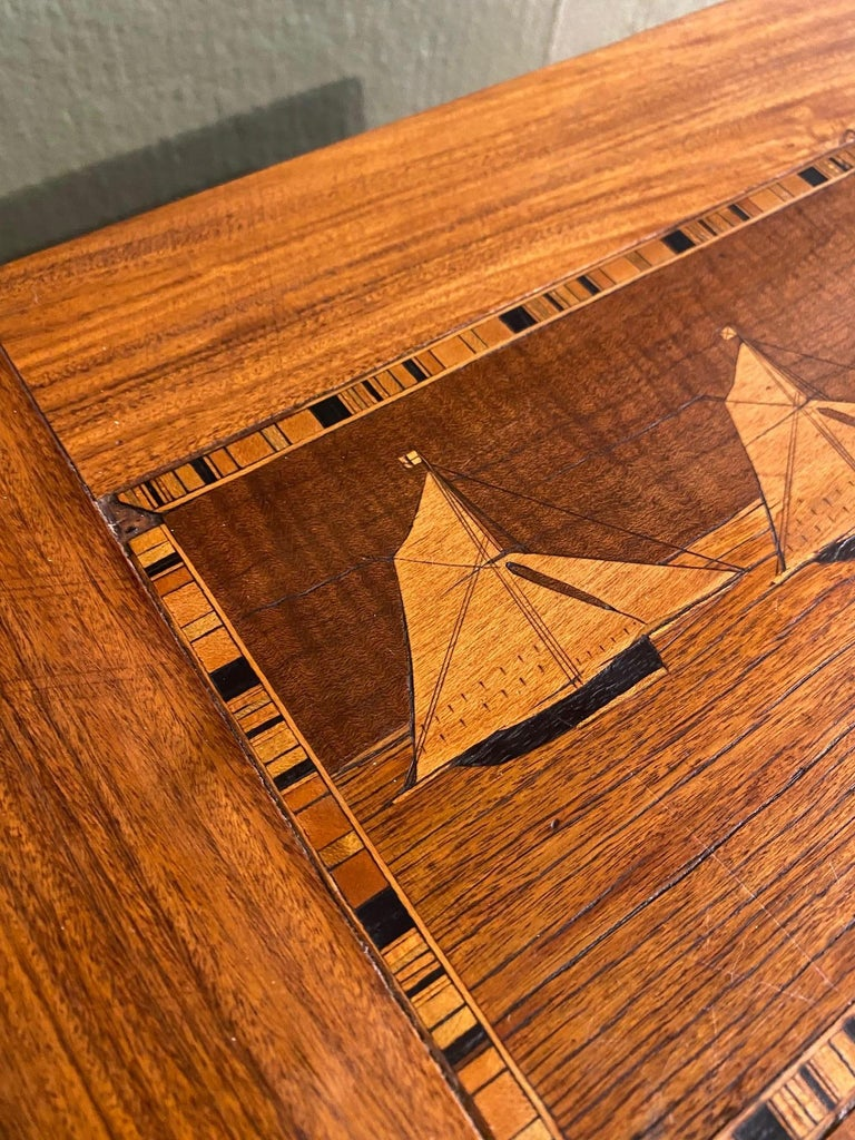 19th Century Trinity House Inlaid Rosewood Sewing Box, circa 1870 In Good Condition For Sale In Nantucket, MA