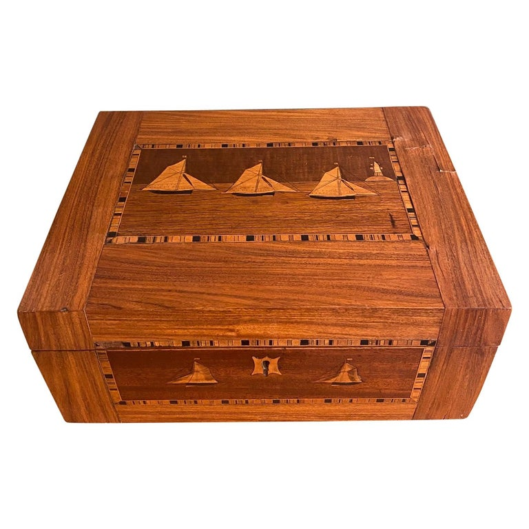 19th Century Trinity House Inlaid Rosewood Sewing Box, circa 1870 For Sale