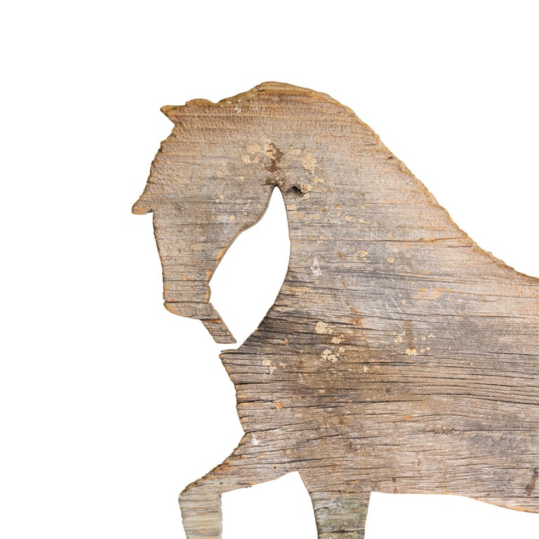 Unknown 19th Century Trotting Horse Pine Weather Vane For Sale