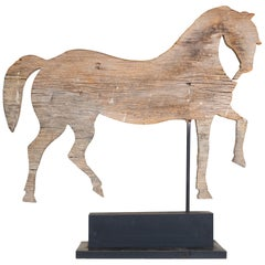 19th Century Trotting Horse Pine Weather Vane