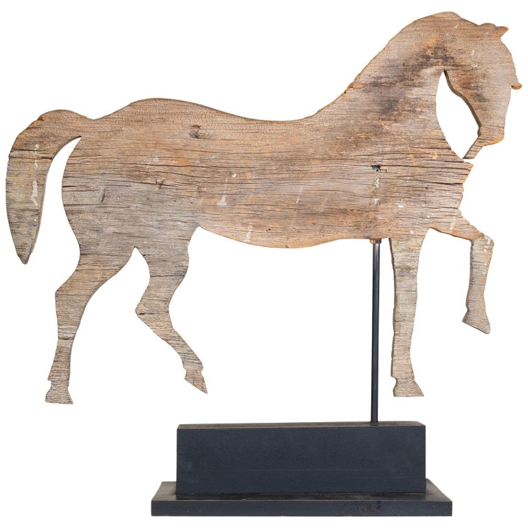 19th Century Trotting Horse Pine Weather Vane For Sale