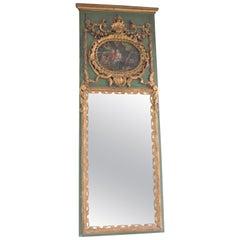 19th Century Trumeau Guilded Rococo Mercury Mirror