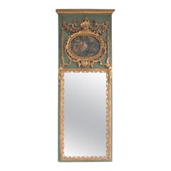 19th Century Trumeau Guilded Rococo Mercury Mirror