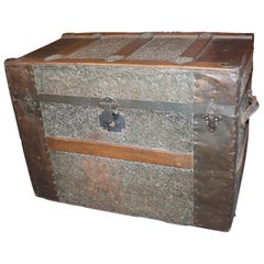 19th Century Trunk with Embossed Tin and Wood