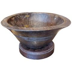 19th Century Turkish Dark Brown Walnut Bowl with Stand