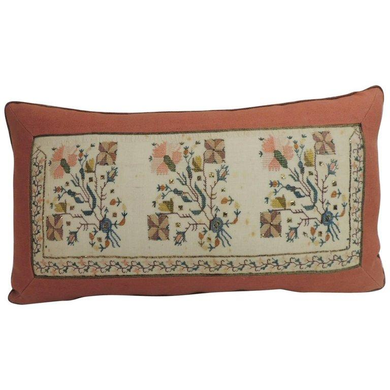 Hand-Crafted 19th Century Turkish Embroidered Linen and Silk Decorative Lumbar Pillow For Sale