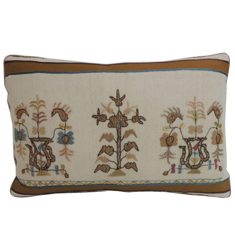 Hand-Crafted 19th Century Turkish Floral Embroidery Decorative Lumbar Pillow For Sale