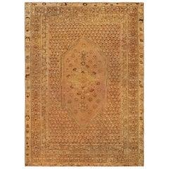 19th Century Turkish Ghiordes Light Brown Handwoven Wool Rug