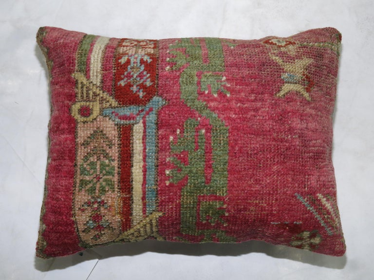 Oushak 19th Century Turkish Ghiordes Rug Remnant Pillow For Sale
