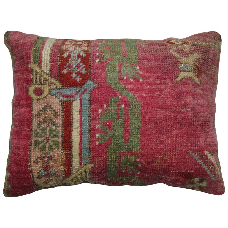 19th Century Turkish Ghiordes Rug Remnant Pillow For Sale