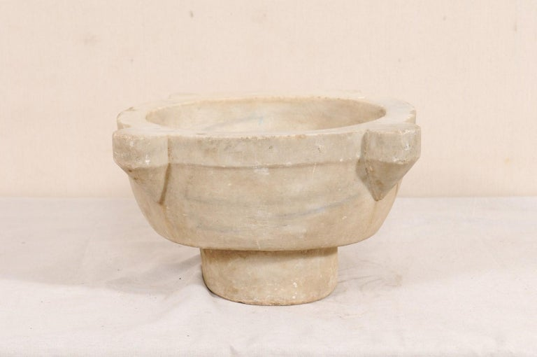 19th Century Turkish Hammam Wash Basin of Hand-Carved Marble For Sale 1