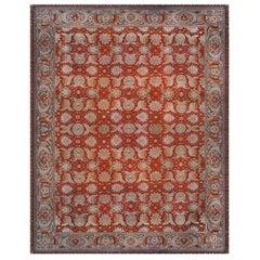 19th Century Turkish Hereke Red Handwoven Wool Carpet
