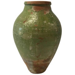 19th Century Turkish Terra Cotta Oil Jar with Green Glaze