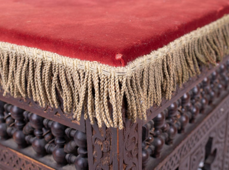 19th Century Turkish Wooden Stool Upholstered in Red Velvet For Sale 7