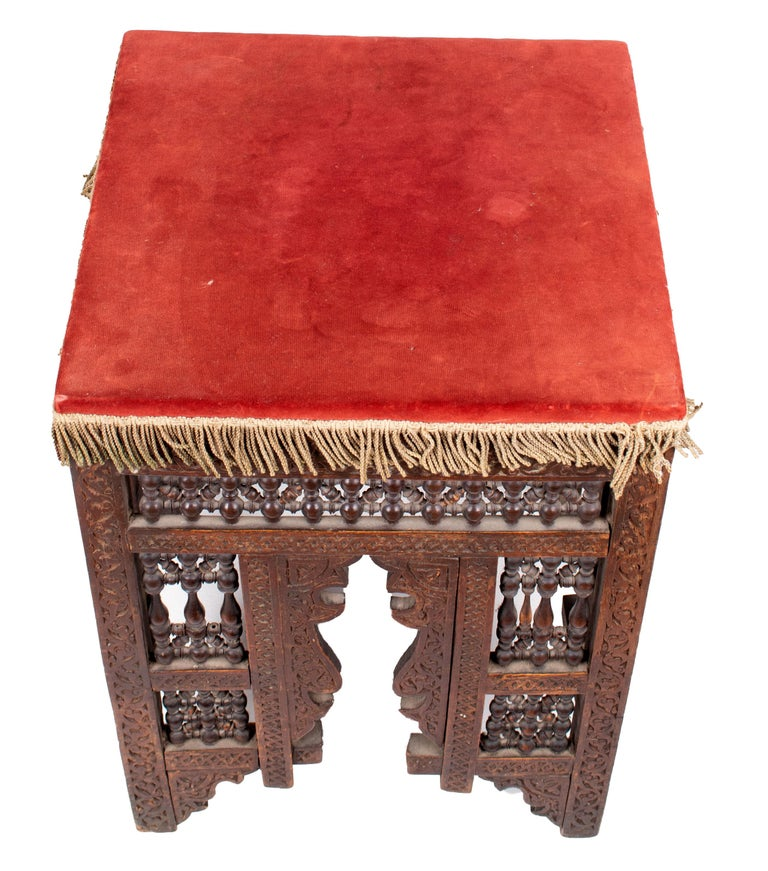 19th Century Turkish Wooden Stool Upholstered in Red Velvet For Sale 2