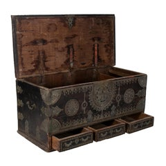 19th Century Turkish Wooden Trunk with Bronze Decorations and Fittings