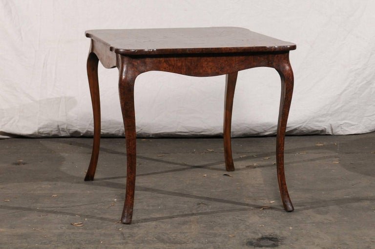 19th Century Turn of the Century Continental Burl Wood Card Table For Sale 1
