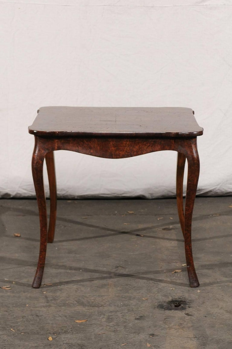 19th Century Turn of the Century Continental Burl Wood Card Table For Sale 2