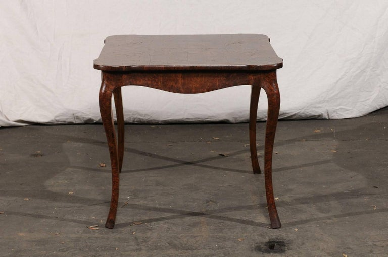 19th Century Turn of the Century Continental Burl Wood Card Table For Sale 3
